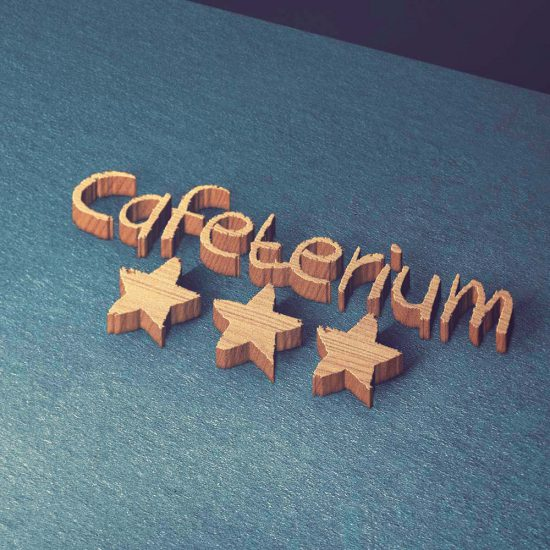 Cafeterium Logo 3D Holz